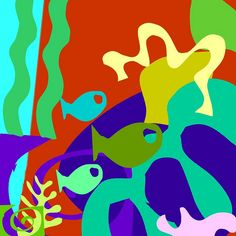 matisse cult paper collage - using only plain coloured paper, use traditional matisse shapes  then oncorporate some fish shapes as well, perhaps they can recreate his still life with fish just using coloured paper collage