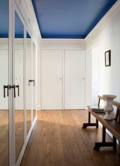 white walls, blue ceiling