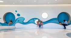 HKS completed Our Lady of the Lake Children's Hospital as a new cornerstone in pediatric care in Baton Rouge, Louisiana. Our Lady of the Lake … Clinic Design, Healthcare Design, Kindergarten Interior, Art Exhibition Posters, Hospital Design, Poster Layout, Kids Zone, Can Design, Layout Design