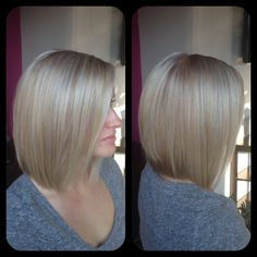 Amber Heater, Gorgeous Hair Salon, Salisbury MD (410)677-4675  hair makeover, fresh hair cut, inverted bob, cool blonde all over color with platinum highlights