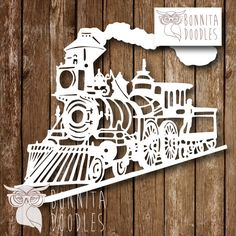 Steam Train A4 father brother uncle.  Papercut by BonnitaDoodles