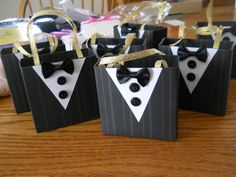 Items similar to Tuxedo party favor bags great for batchelor parties, etc. Wedding Favor Bags, Party Favor Bags, Wedding Boxes, Wedding Party Favors, Wedding Gifts, Groomsmen Gift Bags, Groomsman Gifts, Party Gifts, Diy Gifts
