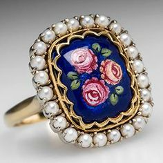 Floral Enamel & Seed Pearl Cocktail Ring 18K Gold