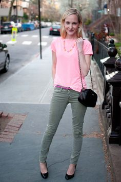 neon and olive jeans