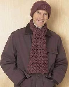 Crochet Scarf & Hat Set for Men free pattern.