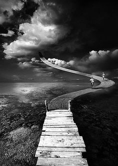 ♂ Dream imagination surrealism Surreal art Black  white, path to the sky
