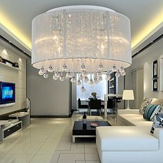 OOFAY LIGHT Simple and elegant 6head modern crystal ceiling light Fashionable crystal ceiling light for living room Bedroom crystal ceiling light ** For more information, visit image link.