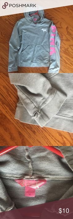 """Pink by Victoria Secret Hoodie Gently used. No stains. One small hole in the right sleeve (see picture #2), no other holes or rips. 23"""" from shoulder to hem. Sleeved are 25"""" long. 18"""" arm pit to arm pit. Smoke free home. PINK Victoria's Secret Tops Sweatshirts & Hoodies"""