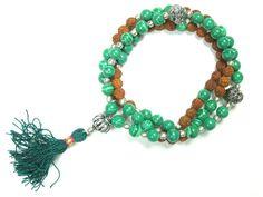 Intention Meditation Mala- Prosperity Green Jade Heart Mala Rudraksha Prayer Beads Necklace|Amazon.com