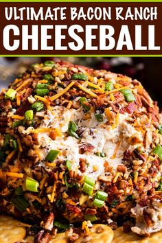 The Ultimate Bacon Ranch Cheese Ball is absolutely LOADED with bold flavors, and a perfect crowd-pleasing appetizer for any party! Bacon Ranch Cheese Ball Recipe, Ranch Recipe, Cheese Ball Recipes, New Recipes, Cooking Recipes, Favorite Recipes, Potato Recipes, Vegetable Recipes, Easy Recipes