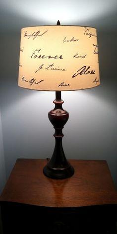 DIY script lamp shade.