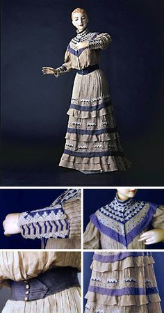 Day dress, circa 1890. Fine pleated linen. The 3-tiered skirt is decorated with geometric motifs, which also appear at the collar and cuffs. A large belt emphasizes the slimness of the waist. Via Sugino Museum.