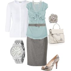 Pretty- I love the contrast between the soft colored clothes and the trendy snake skin looking heels.