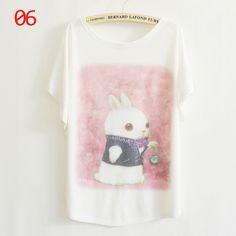 Aliexpress.com : Buy 2013 new arrival summer thin plus size loose batwing sleeve women's short sleeve T shirt print tee womens t shirt 57 mo...