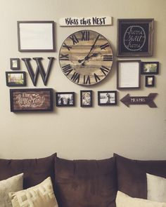 Gallery wall with handmade pallet clock http://hubz.info/98/this-film-is-the-story-of-our-incredible-trip