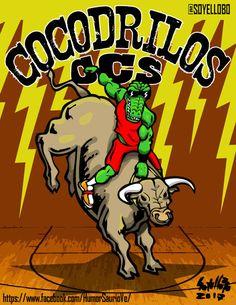 COCODRILOS DOMINA A TOROS.     Illustration for the site Humor saurio  pen + paper + marker pen + photoshop + illustrator