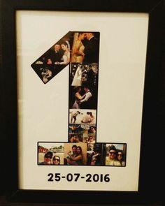Lindo quadrinho, com suas fotos de 1 ano de namoro, casamento ou outra comemoração especial.  Após a compra passaremos um e-mail para vc enviar as fotos.    -Tamanho: 23x33cm  -Impressão em papel Couche  -Com vidro  -Moldura de madeira de 2cm (Preta ou Branca)