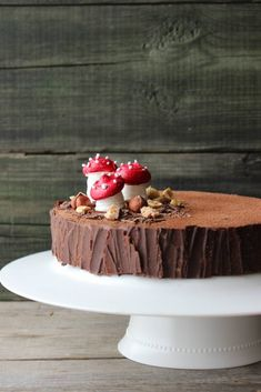 Hazelnut and chocolate cake - HQ Recipes Woodland Cake, Log Cake, Cake & Co, Salty Cake, Dessert Decoration, Holiday Cakes, Savoury Cake, Cake Cookies, Cupcakes