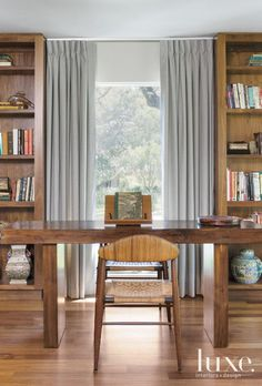 Traditional Wooden Library - Luxe Interiors + Design