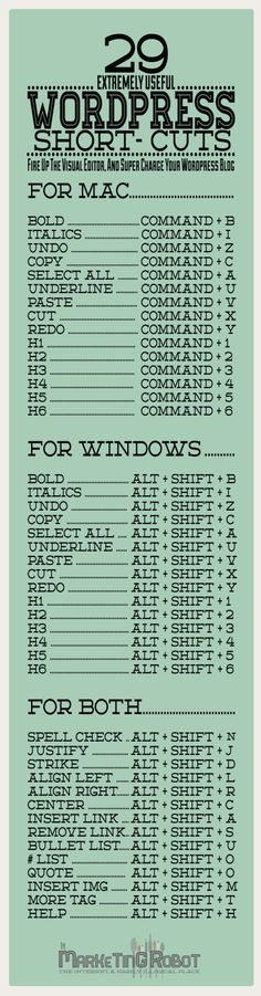 Wordpresss Blog Keyboard Short Cuts (Infographic)