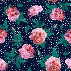 Pink Roses With Polka Dots by NewSea Design Seamless Repeat Royalty-Free Stock Pattern - Patternbank #illustrationart #illustrationbest #pattern #patterndesign #patterndesigners #repeatpattern #illustration #surfacepattern Pattern Bank, Pattern Design, Purple Haze, Repeating Patterns, Textile Prints, Surface Pattern, Pink Roses, Free Design, Print Patterns