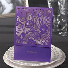 Classic Luxury Wedding Invitation With Floral Cutout (Set of 50) – USD $ 69.99