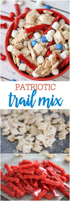 Patriotic Trail Mix - candy coated cereal mixed with mini marshmallows, licorice and M&Ms making it a perfect treat for any patriotic holiday like Fourth of July, Memorial Day or Veteran's Day!