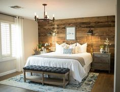 Rustic bedroom ideas diy accent wall ideas surely wish to try this at home bedroom bedroom farmhouse master bedroom bedroom decor Small Master Bedroom, Farmhouse Master Bedroom, Bedroom Rustic, Master Bedrooms, Master Suite, Bedroom Ideas Master For Couples, Country Bedrooms, Rustic Room, Bedroom Brown