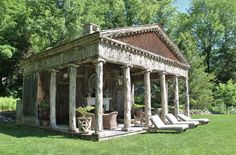 at bunny williams' connecticut garden: the pool house was inspired by an 18th-century French garden folly and built to the exact proportions of a classical Greek temple.Tone on Tone