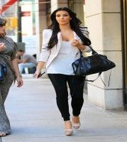 Kim Kardashian Kim Kardashian Leggings White Blazer Shopping In Ny 7 3
