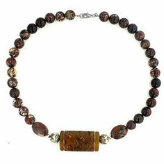 Agate Carved Jasper Beads with Silver Finding 16.5 inches Necklace Silver Empire Jewelry. $25.00. Nickle Free. Lobster Lock. Genuine Agate. .925 Sterling Silver base matal. Save 93% Off!