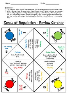 Zones of Regulation Emotions Fortune Teller - Self Regulation Social Skills Lessons, Teaching Social Skills, Social Emotional Learning, Coping Skills Activities, Counseling Activities, Diversity Activities, Emotional Regulation, Self Regulation, Emotional Development