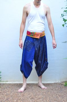 Mens Thai pants Thai fishermen pant blue Cotton by SiamTrendy