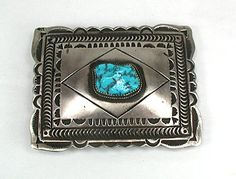 Turquoise belt buckle Native American Navajo Sterling Silver