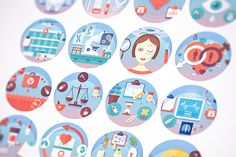 Medical flat circle icons set. by painterr on @creativemarket