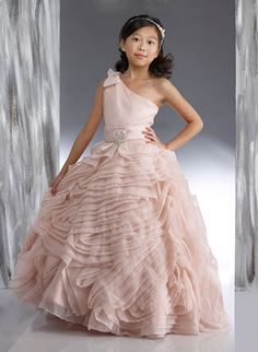 37eb503b7 Couture-Designer Girls Dress Style 1886- One Shoulder Organza Dress with  Multi Layer Skirt