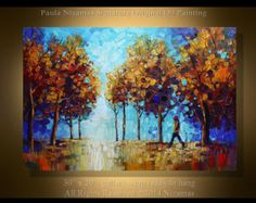 At the Park  —  PALETTE KNIFE Oil landscape Painting On Canvas By Paula Nizamas - Original Ready to Hang