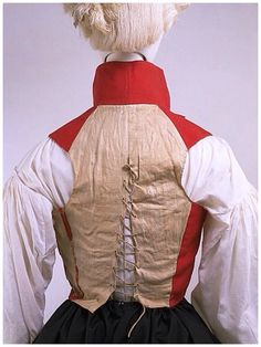 Back of a woman's riding outfit, Waistcoat, England 1790-1795. (back lacing keeps it snug over stays and fitting nicely under a closely tailored coat)
