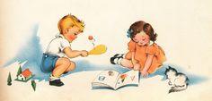 Vintage illustration: children at play