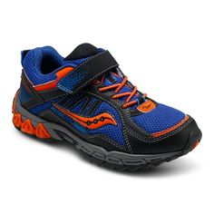 Saucony Excursion A/C Velcro Athletic in Blue/Black/Orange. #saucony #excursion #boys #boysathleticshoes #athletic #velcro #blue #black #orange #coolboyshoes #stafffavorite #Fall #backtoschool