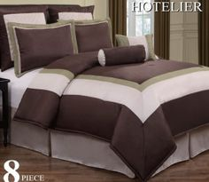 """12pc Luxury Bedding Set- Hotel Chocolate/Ivory/Sage. Your going to love this 12 piece luxury Bed in a Bag-Hotel Comforter Set. Available in various colors. This set is complete with everything you need to create a look your are going to love. Great Bedroom Decor and comfortable Sleep. Get yours Today  King 600TC Sheet Set Includes: 1 Flat Sheet King 102""""x105""""1 Fitted Sheet King 78""""x80""""x16""""2 King Pillow Cases 20""""x40""""   ___________________________ 12pc Full Size Set Includes 1 Comforter…"""