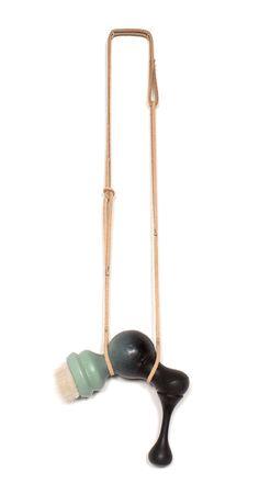 Vincent Pontillo-Verrastro Necklace: Stracian, 2014 Gaboon ebony, PLA, mink, leather, paint, thread 47x13x5cm Collection: Analogue