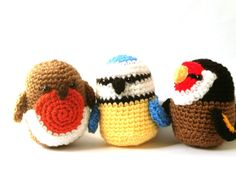 Three Little Birds Crochet Amigurumi Patterns - Robin, Blue tit & goldfinch