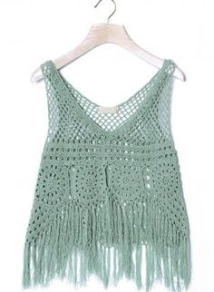 Mint Green Hand Knit Sleeveless Crochet Crop Top, Top, crochet top sleeveless sheer, Bohemian (Boho) / Hippie