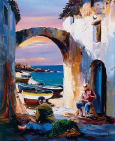 Christian Jeguel – Jadranka Kesler – Join the world of pin Building Painting, Boat Painting, Acrilic Paintings, Seascape Paintings, Landscape Artwork, Abstract Landscape, Beautiful Paintings, Boat Art, Acrylic Paintings