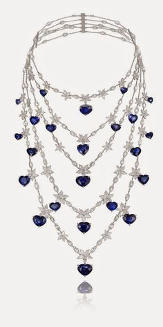 153cfa65be8 I don t like heart-shaped jewelry but.Chopard platinum necklace encrusted  with marquise and round-cut diamonds and heart-shaped sapphires.