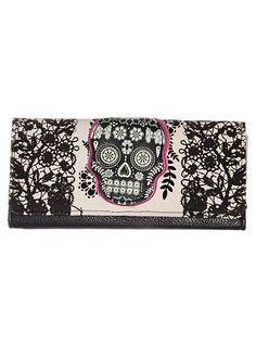 Memento Mori Sugar Skull Wallet at ShopPlasticland.com