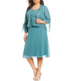 368b88567a363 Shop for Le Bos Plus Size 2-Piece Tulip Bell Sleeve Embroidered Jacket Dress  at Dillards.com. Visit Dillards.com to find clothing