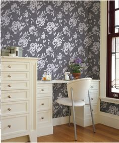 Pair solid colored furniture with bold wallpaper patterns to give your room a balanced look. Try this wallpaper from the HGTV HOME™ by Sherwin-Williams collection.
