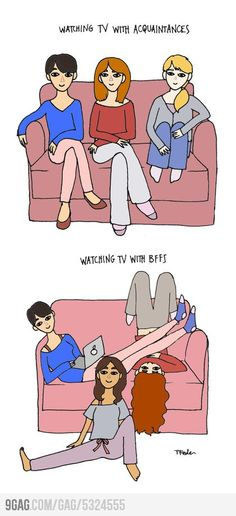 Watching TV... Pretty much. This is how my friends and I were in high school